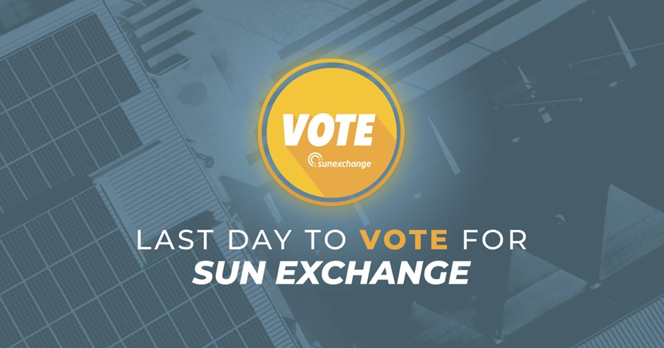 Vote for The Sun Exchange to scoop the Disruptor Daily Blockchain Energy Award!