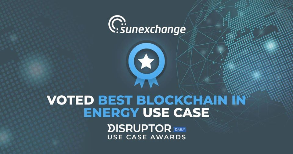 The people have voted…Sun Exchange SCOOPS The Disruptor Daily Blockchain Energy Award!